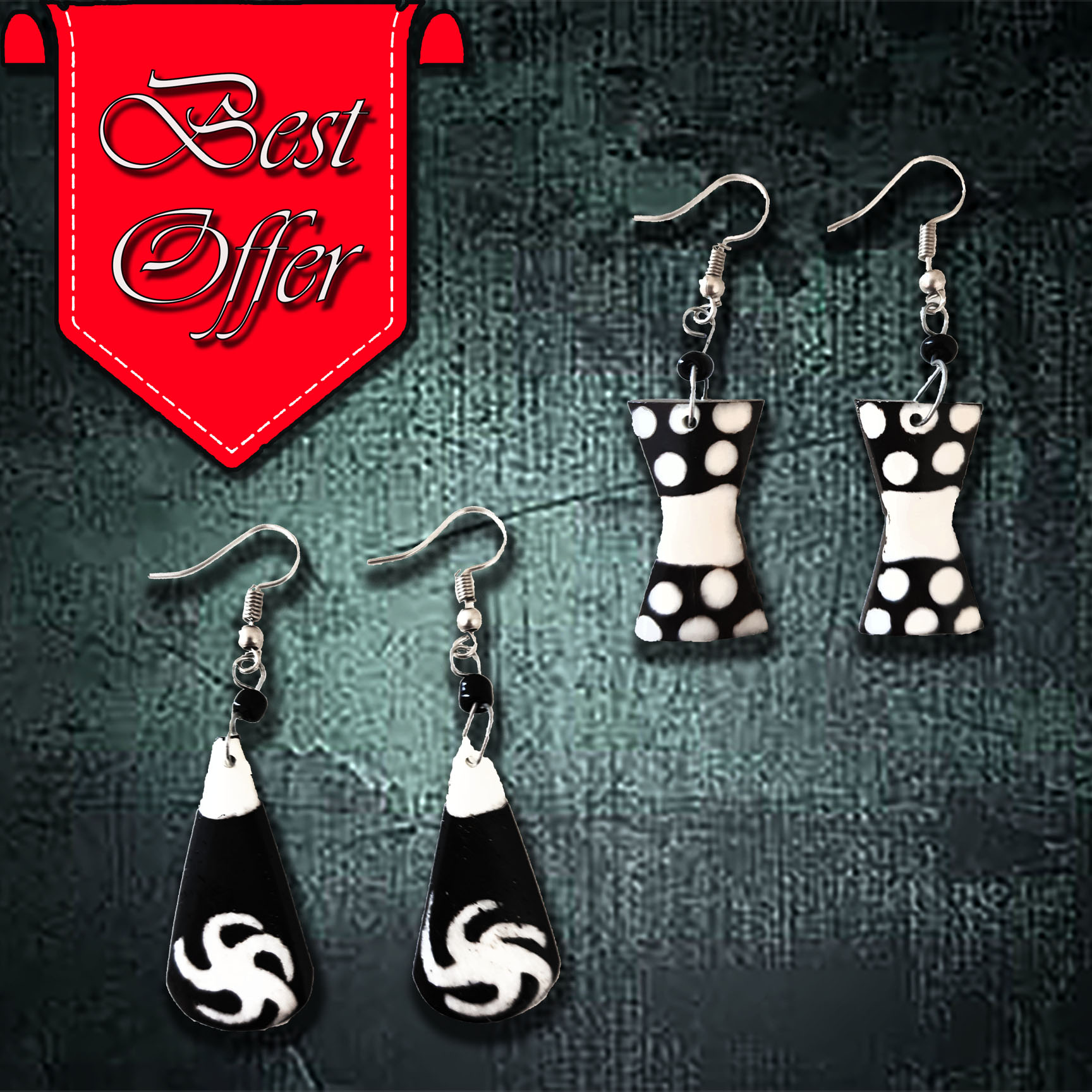 African Bone Earrings (Long)