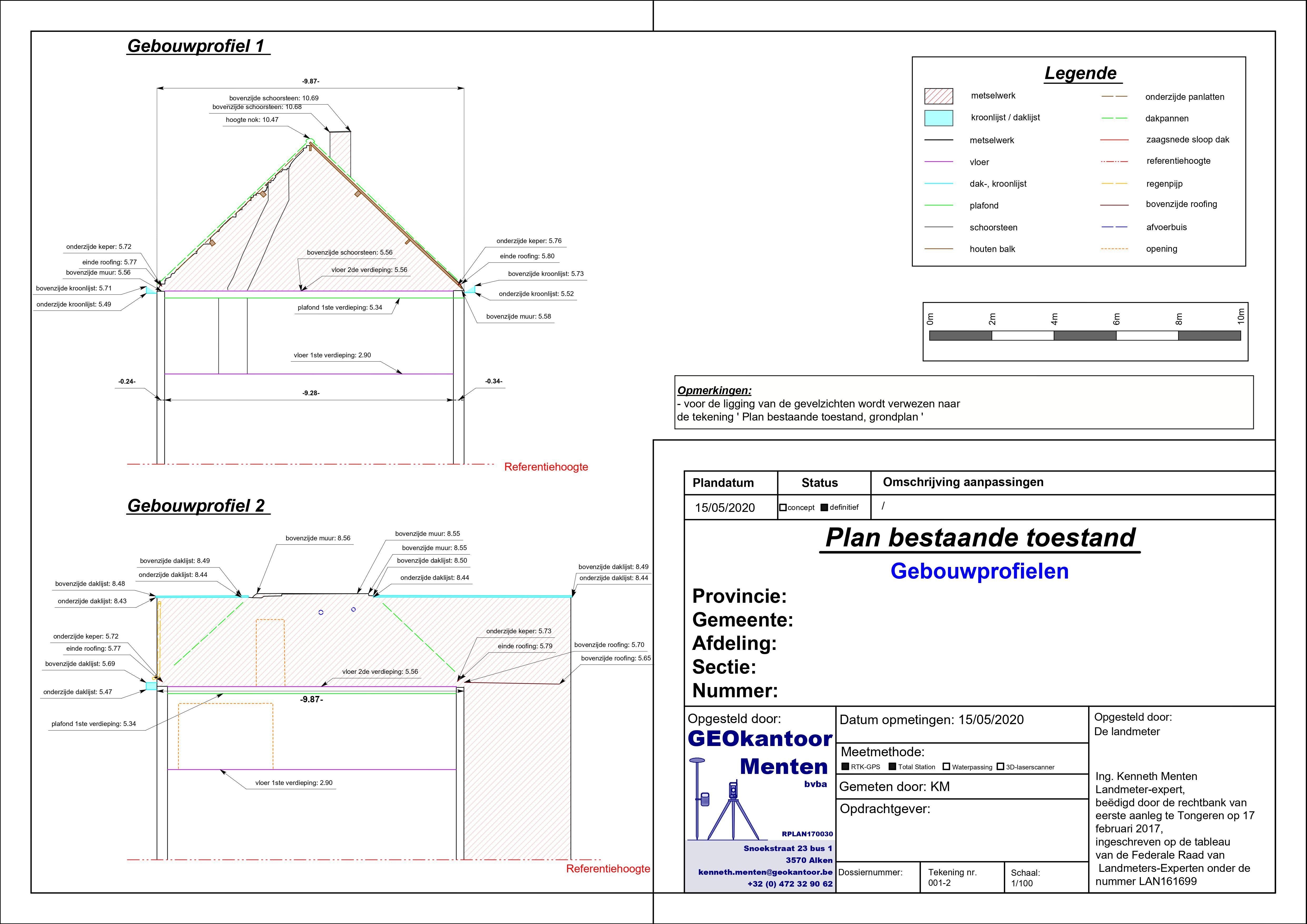 Plan bestaande toestand na sloop dakconstructie gebouwprofielenjpg