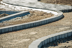 Landscape garden construction of a path