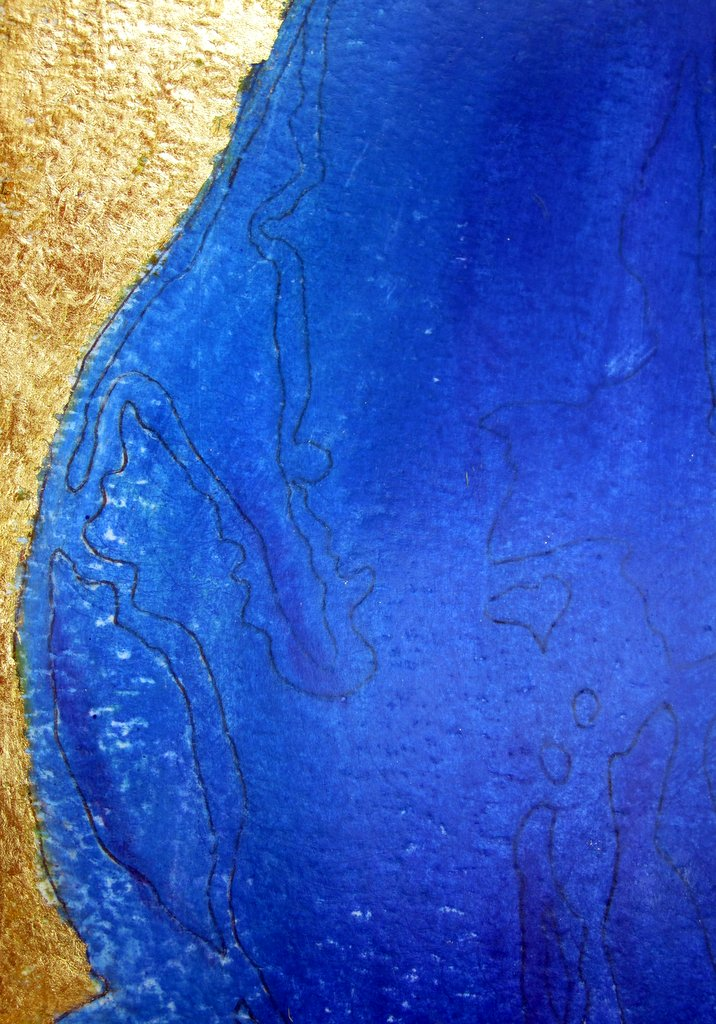 Abstract painting of a Wexford coastline at Curracloe  in blue with gold leaf