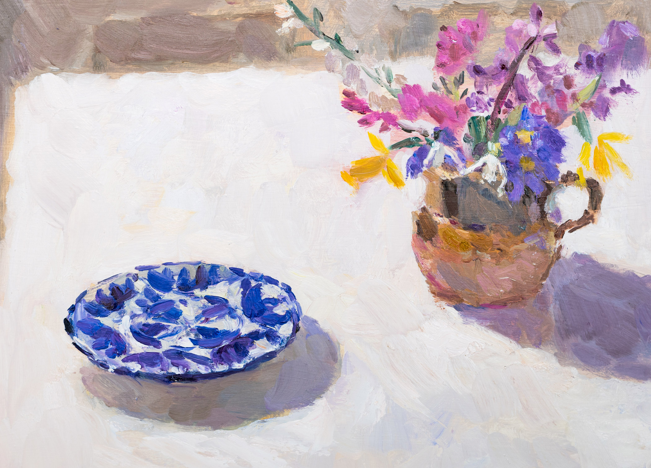 Spring Flowers with a Blue Patterned Plate