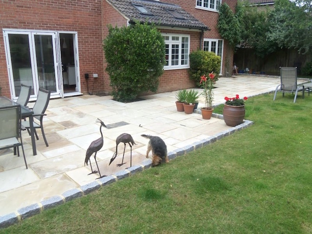 Patio with LED lighting in Lightwater, Surrey