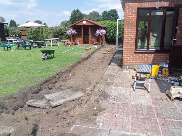 Start of new patio construction Egham