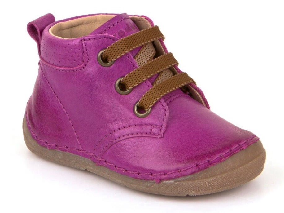 Fuschia pink leather lace up toddler girls boots