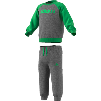 Adidas 3S Crew Top Track Suit Grey-Green-Green