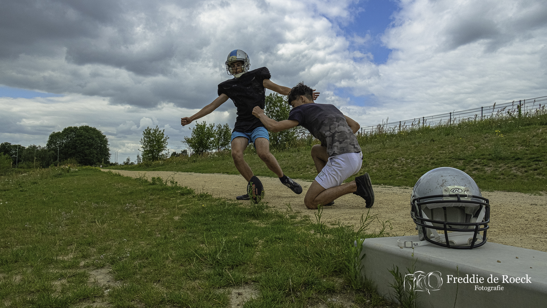 Foto's: American Football Training in het Spoorpark
