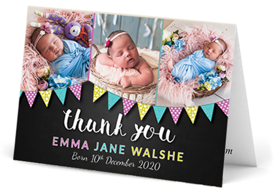 Landscape three photo baby thank you card with flags