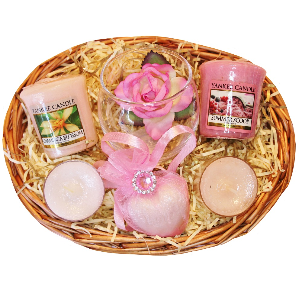 Candle Treat Gift Basket - Pink