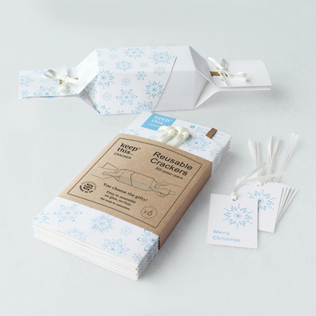 6 Reusable Christmas Crackers - 'Frosty White' design - with FREE tags