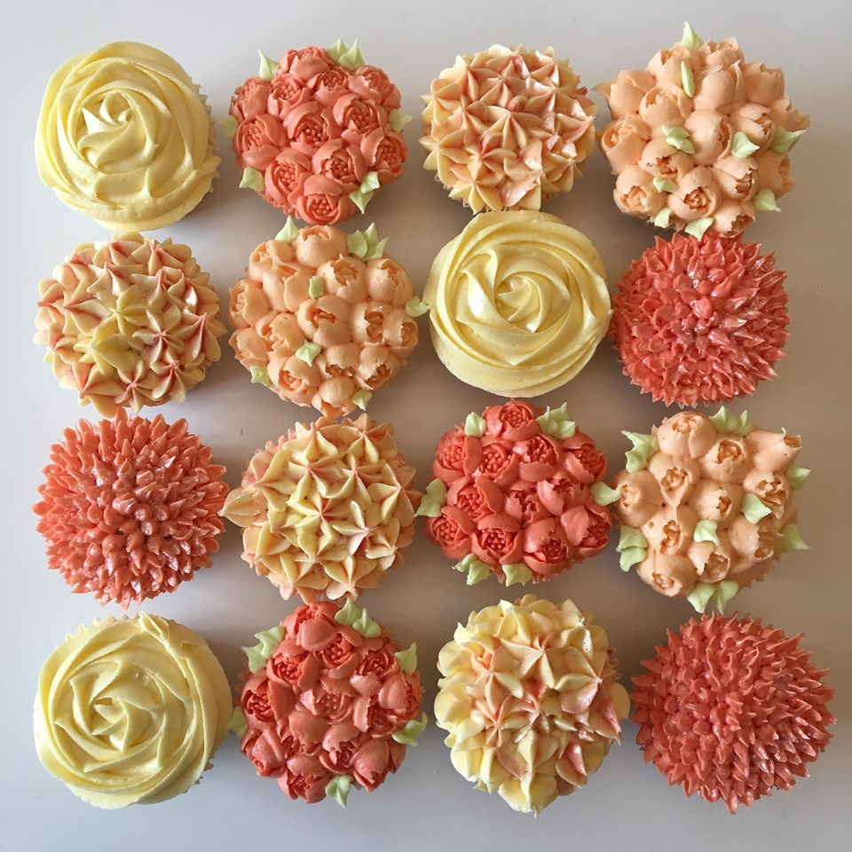 Coral Buttercream Piped