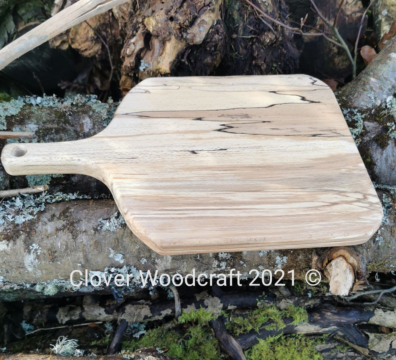 Spalted Beech Paddle Board Serving Board.