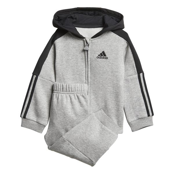 Adidas 3S Hooded Tracksuit Grey-Black