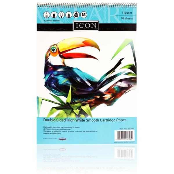 VISUAL ART - Icon A3 110gsm Spiral Sketch Pad 30 Sheets