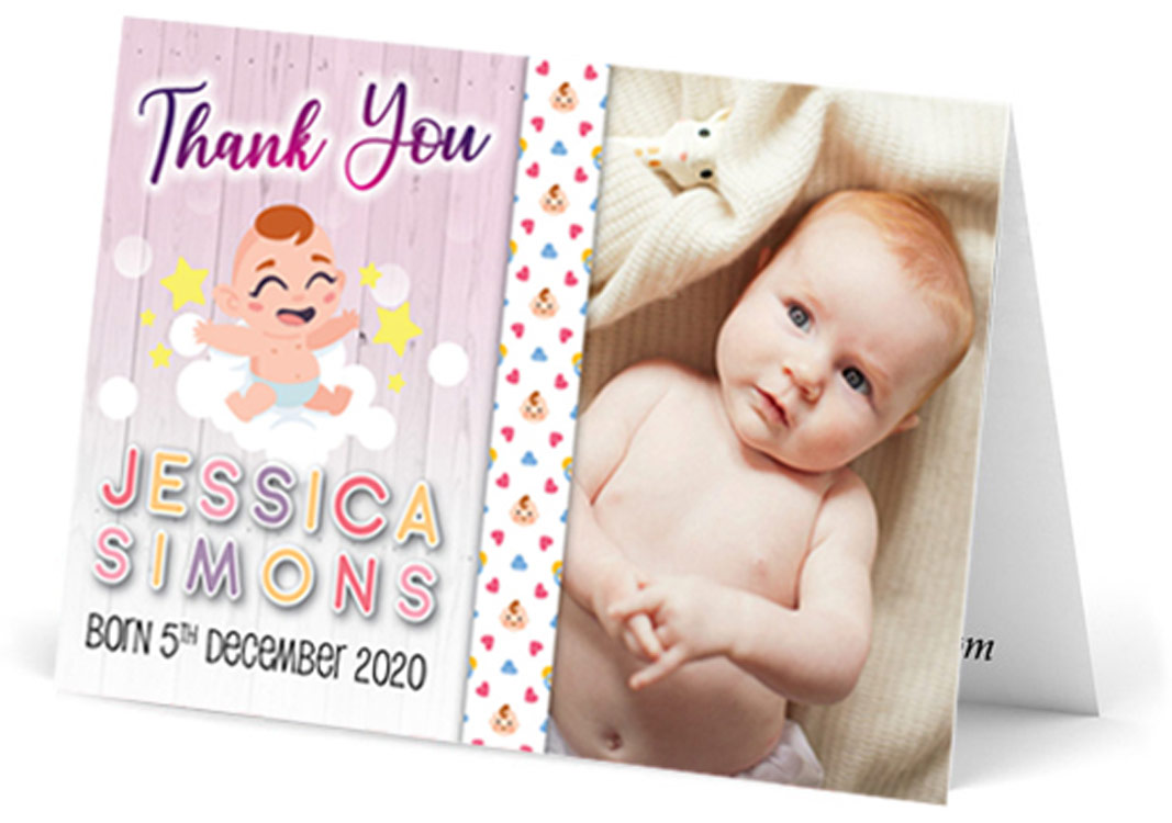red hair baby playful thank you card