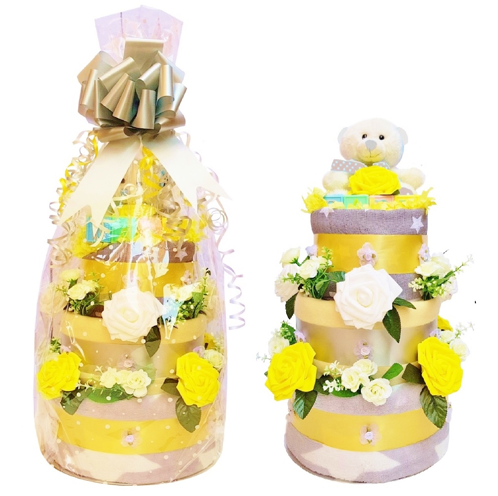 Beautiful Yellow & Grey Nappy Cake for a Girl or Boy