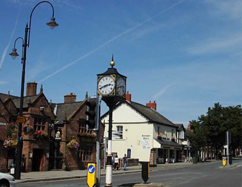 The unusual town clock in Frodsham town centre