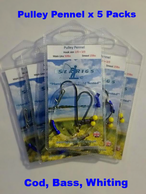 5 Packs of Pulley Pennel Clip Down Rigs (Asso Line 50lb / 25lb ) 1/0 + 1/0