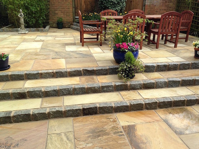 Natural sandstone patio Weybridge, Surrey