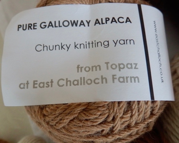 Chunky knitting yarn spun from Topaz, one of the alpaca herd at East Challoch Farm