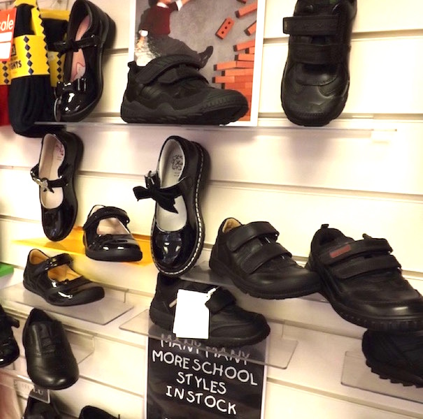 A selection of school and dress shoes for boys and girls