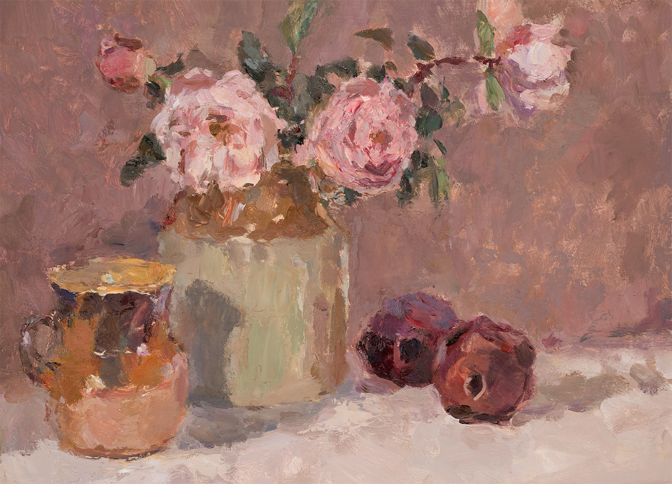 Roses with Earthenware Crockery and Pomegranates