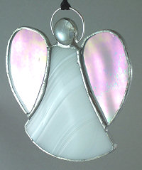 A medium stained-glass angel suncatcher