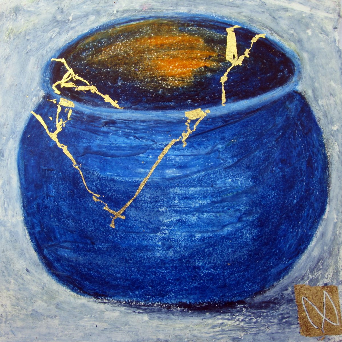 painting of Japanese kintsugi tea bowl with gold by Irish artist blue orange
