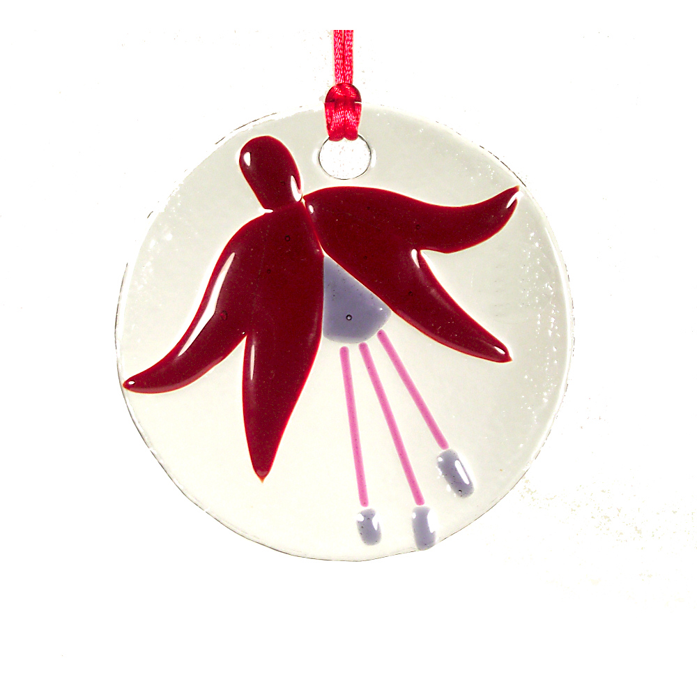 Fused-glass Fuchsia suncatcher (small)