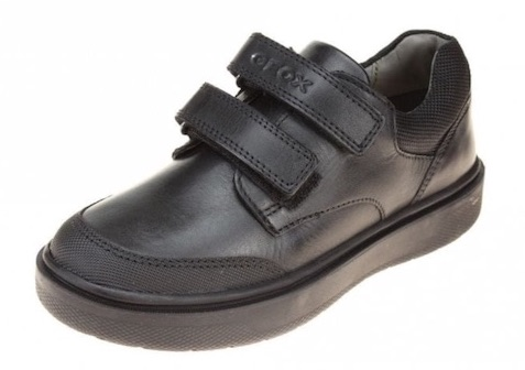 Black leather boys school shoes in a trainer style with two Velcro straps