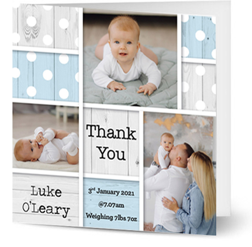 Square baby boy thank you card