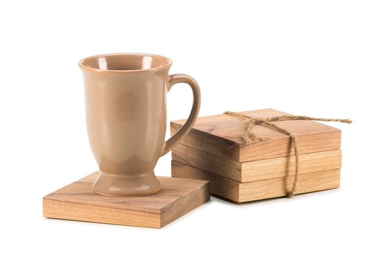 set of 4 square walnut coasters
