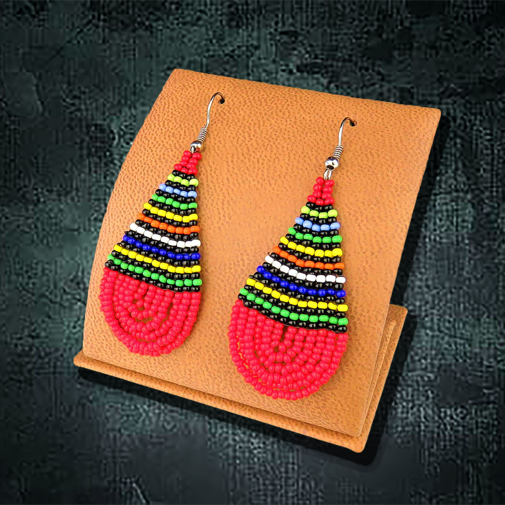 African Beaded Earrings, Teardrop Large