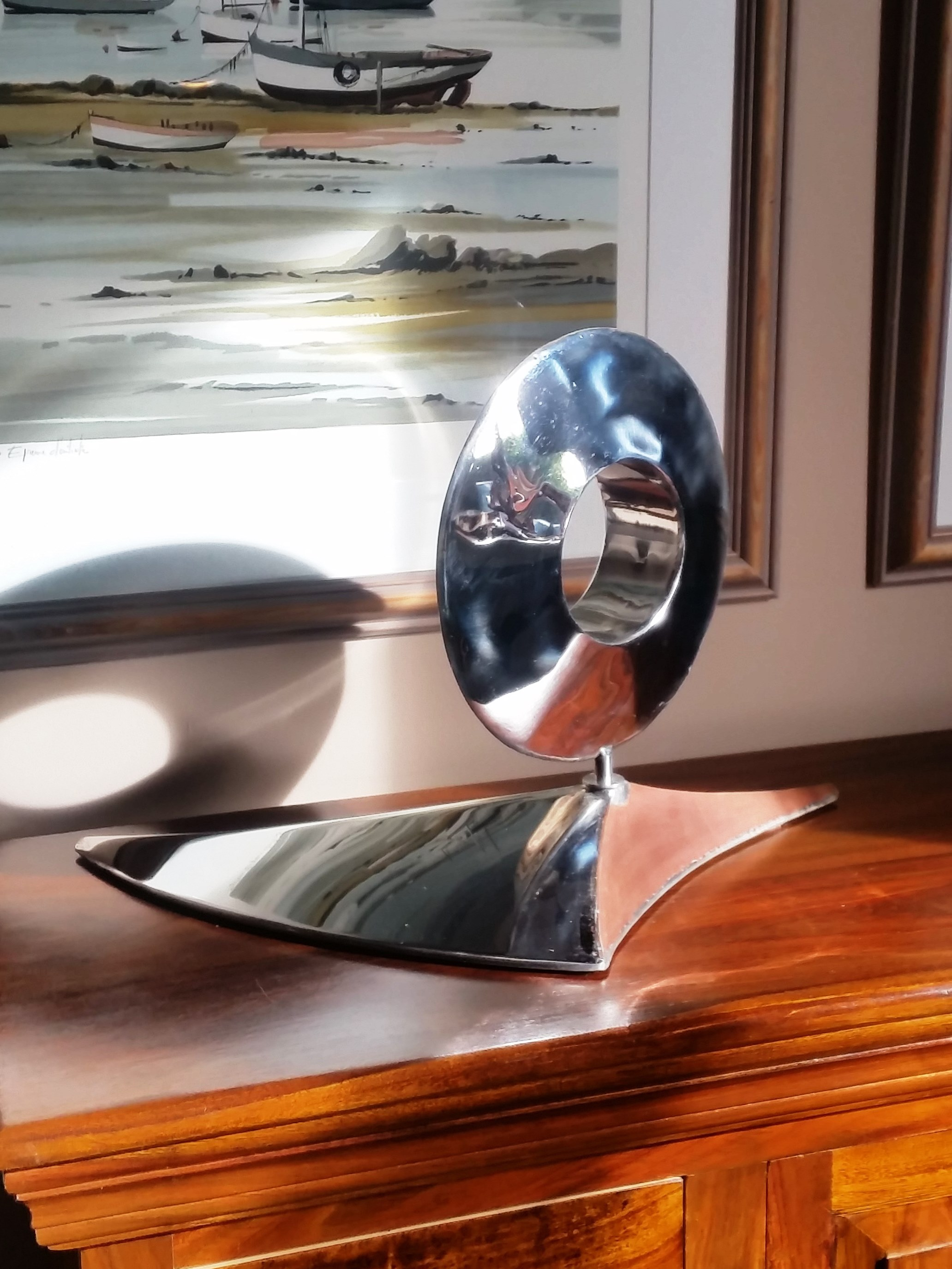 Luna Night - showing Stainless Steel Side & Brushed Copper Cresent