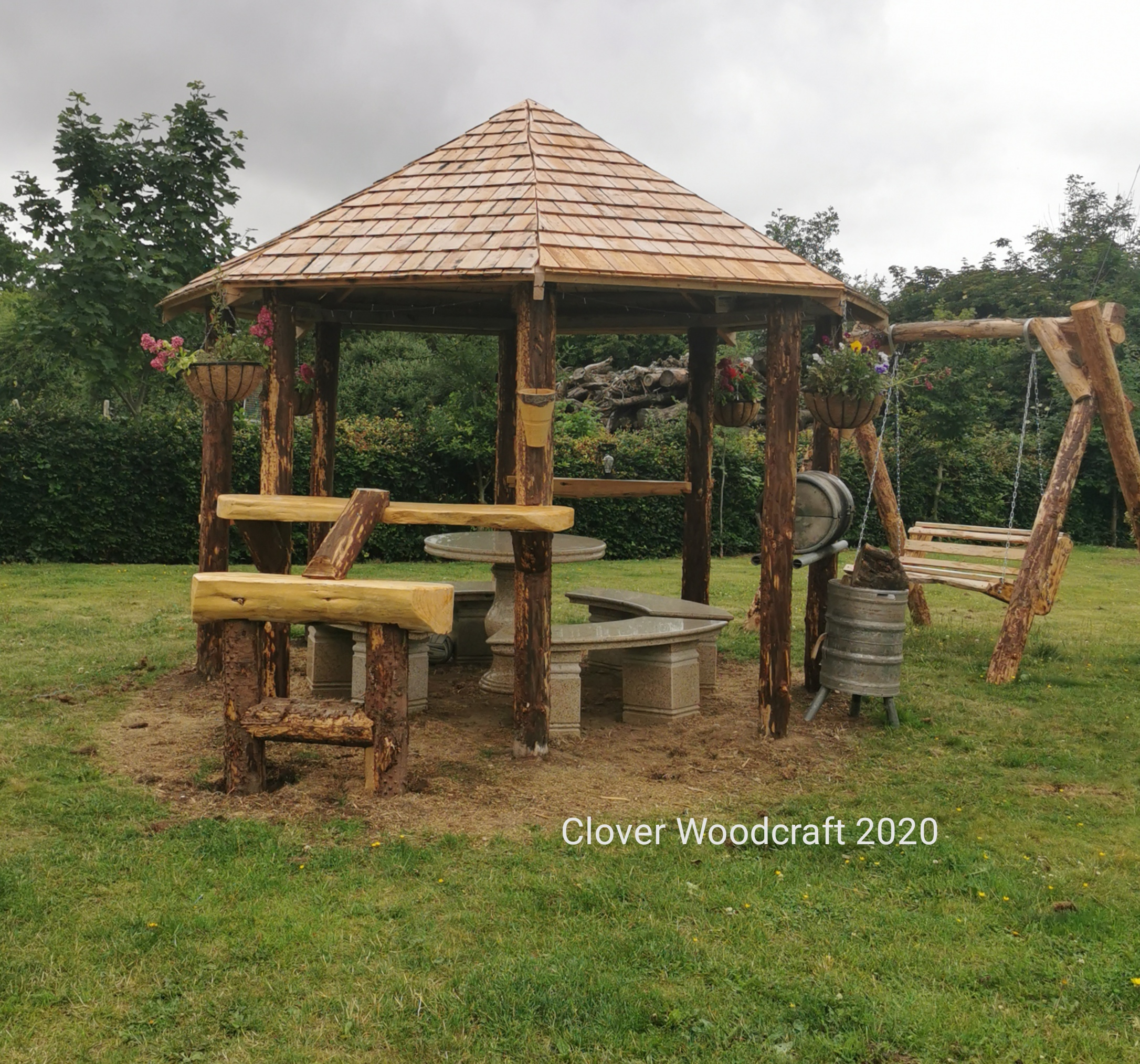 Custom made Rustic wood Garden Furniture our Lockdown design project 2020.
