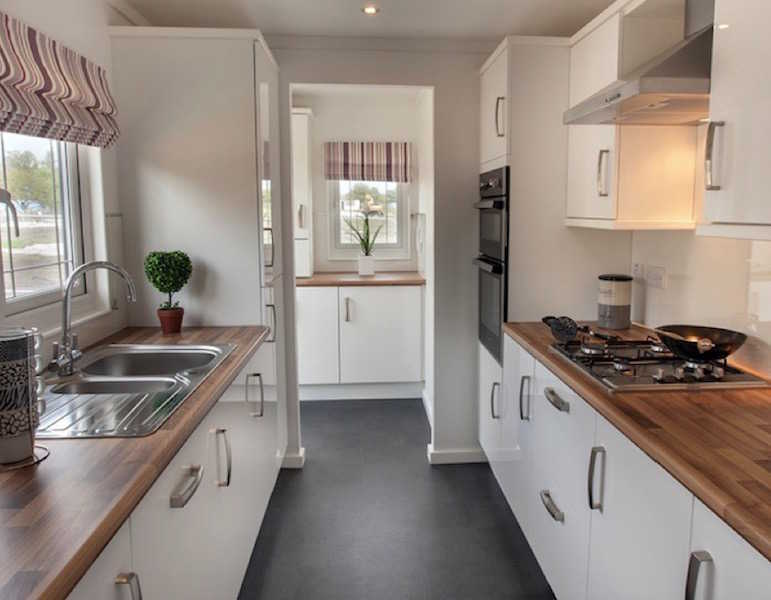 A park home kitchen at Helsby Park, Frodsham, Cheshire