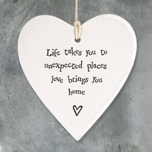 East Of India 'Life takes you' Porcelain Hanging Heart