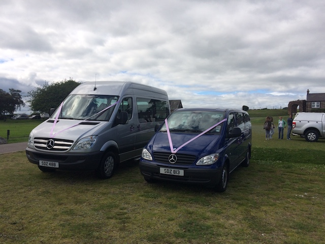 Two Dowden's minibuses with pink ribbons decorated for wedding guests, a Mercedes Sprinter and a Mercedes Vito