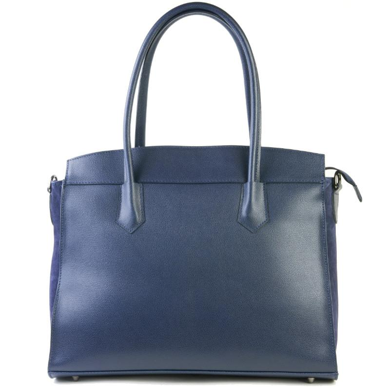 Amilu Bexley Navy Blue Real Leather Shoulder Work Bag