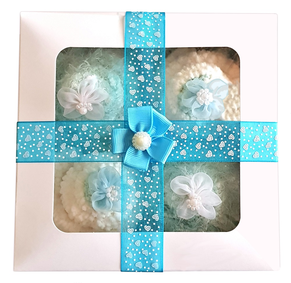 Women's 'Popcorn Cozy Sock' Cupcakes, Blue Ribbon Gift Box