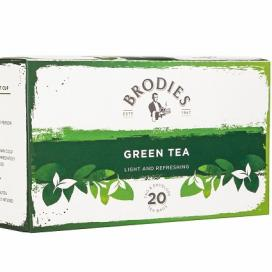 Brodies Melrose Green Tea. Tag and envelope tea bags. 86g