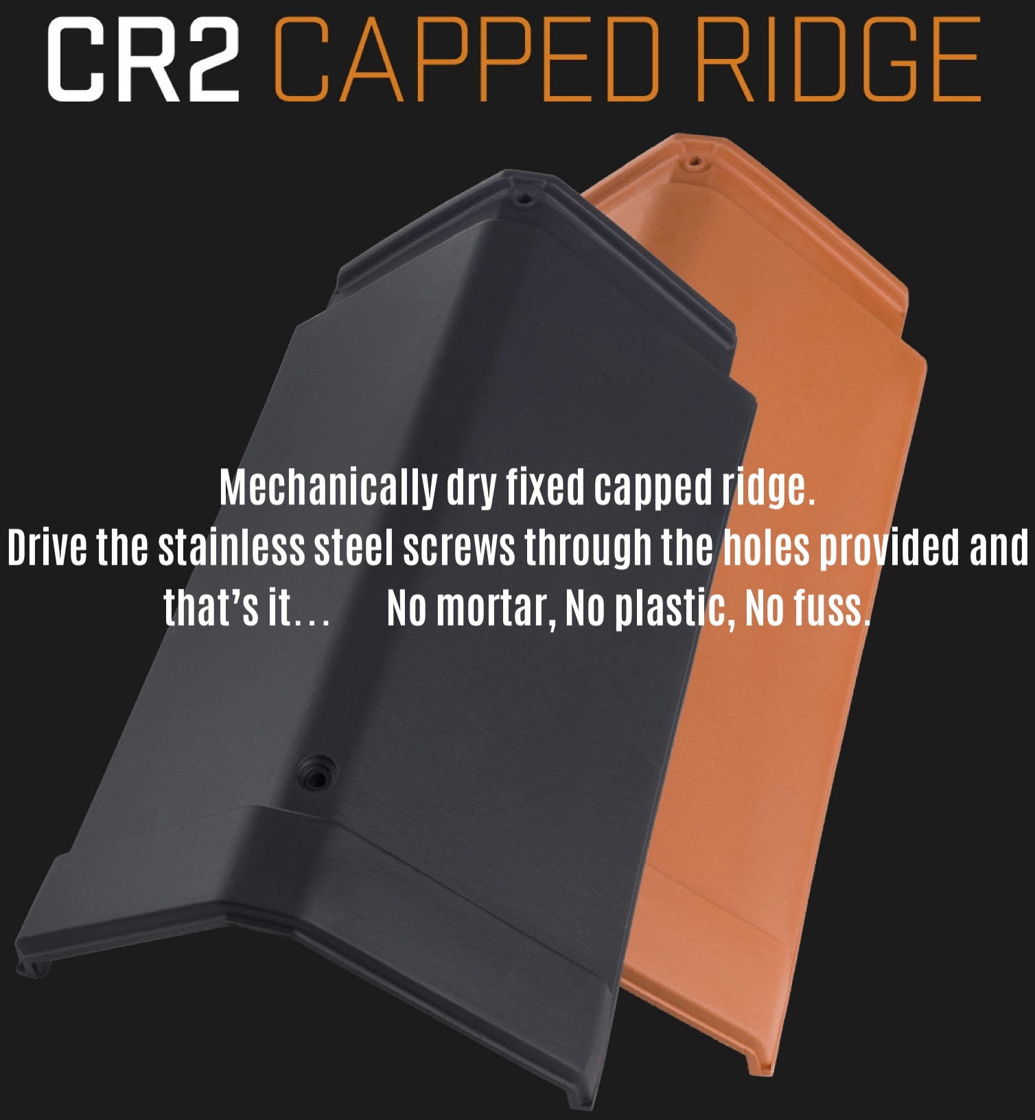 CS CR2 clay capped ridge tile, vented ridge tile, dry fixed ridge tile