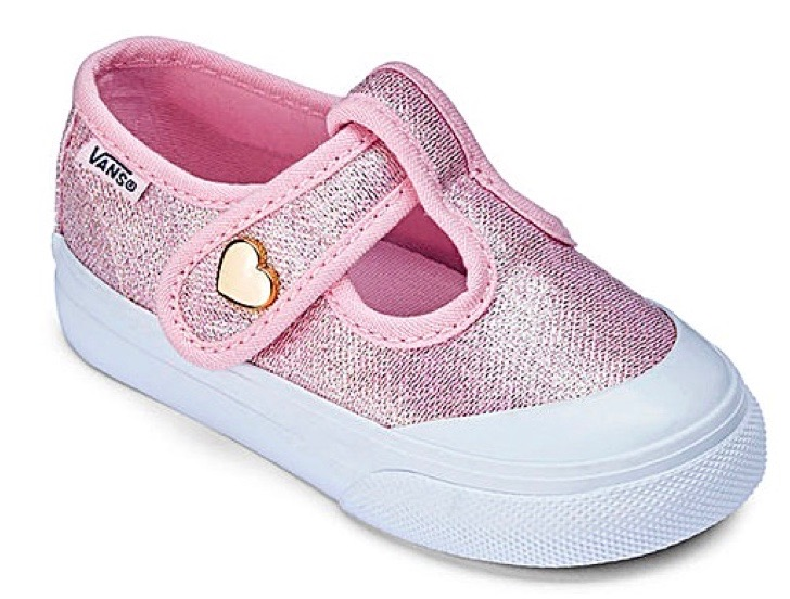 Glitter pink canvas shoes by Vans for toddler girls