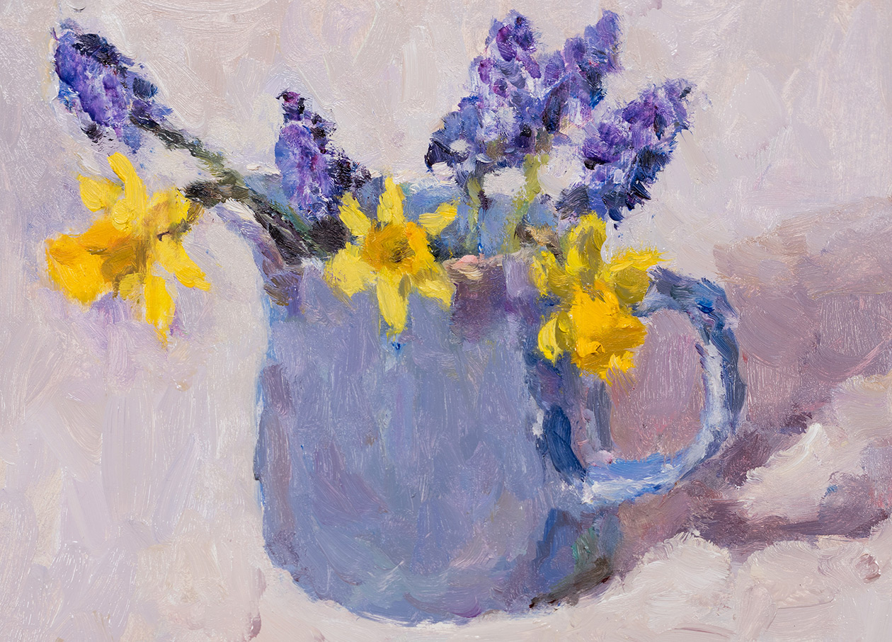 Spring Flowers in a Blue Jug