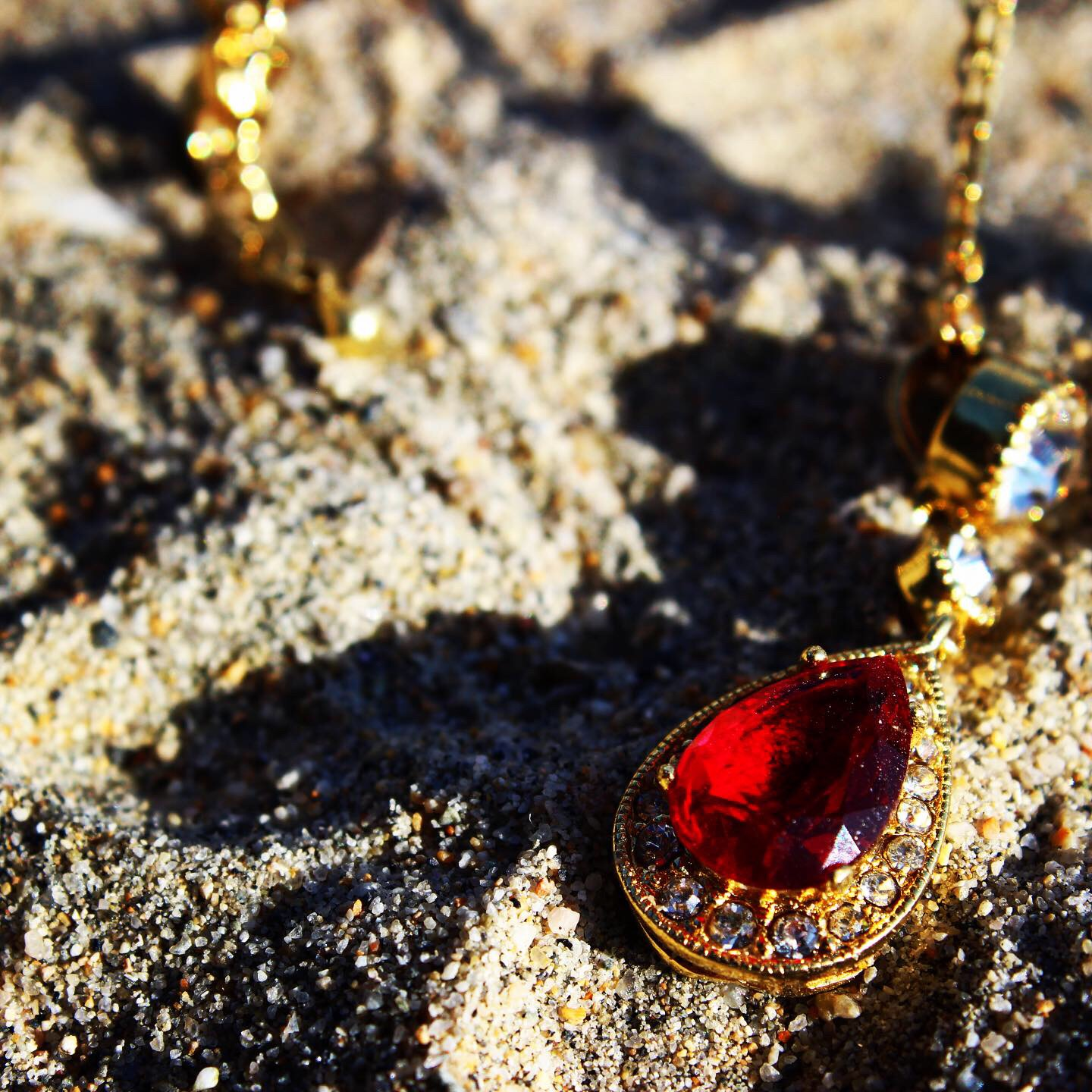 Gold Red ruby necklace