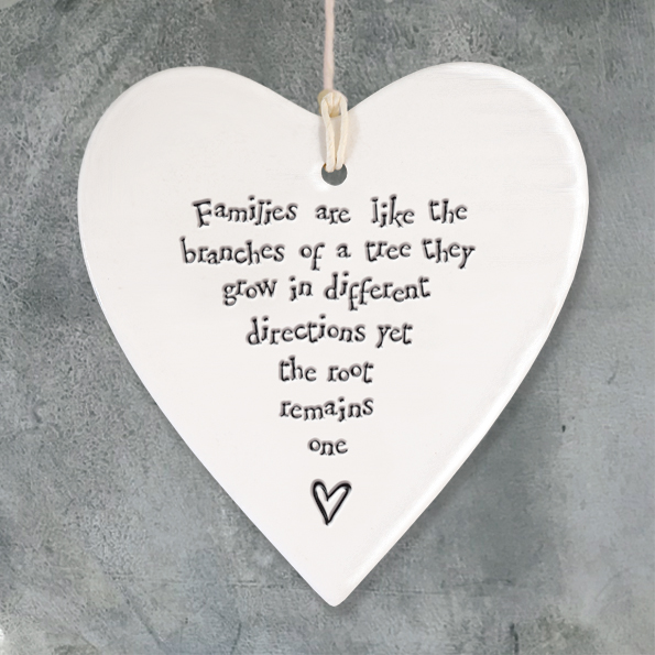 East Of India 'Families like branches' Porcelain Hanging Heart