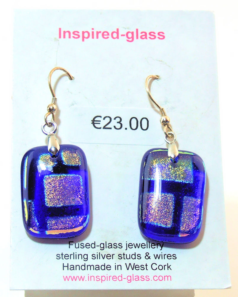 Fused-glass jewellery - drop earrings - 116