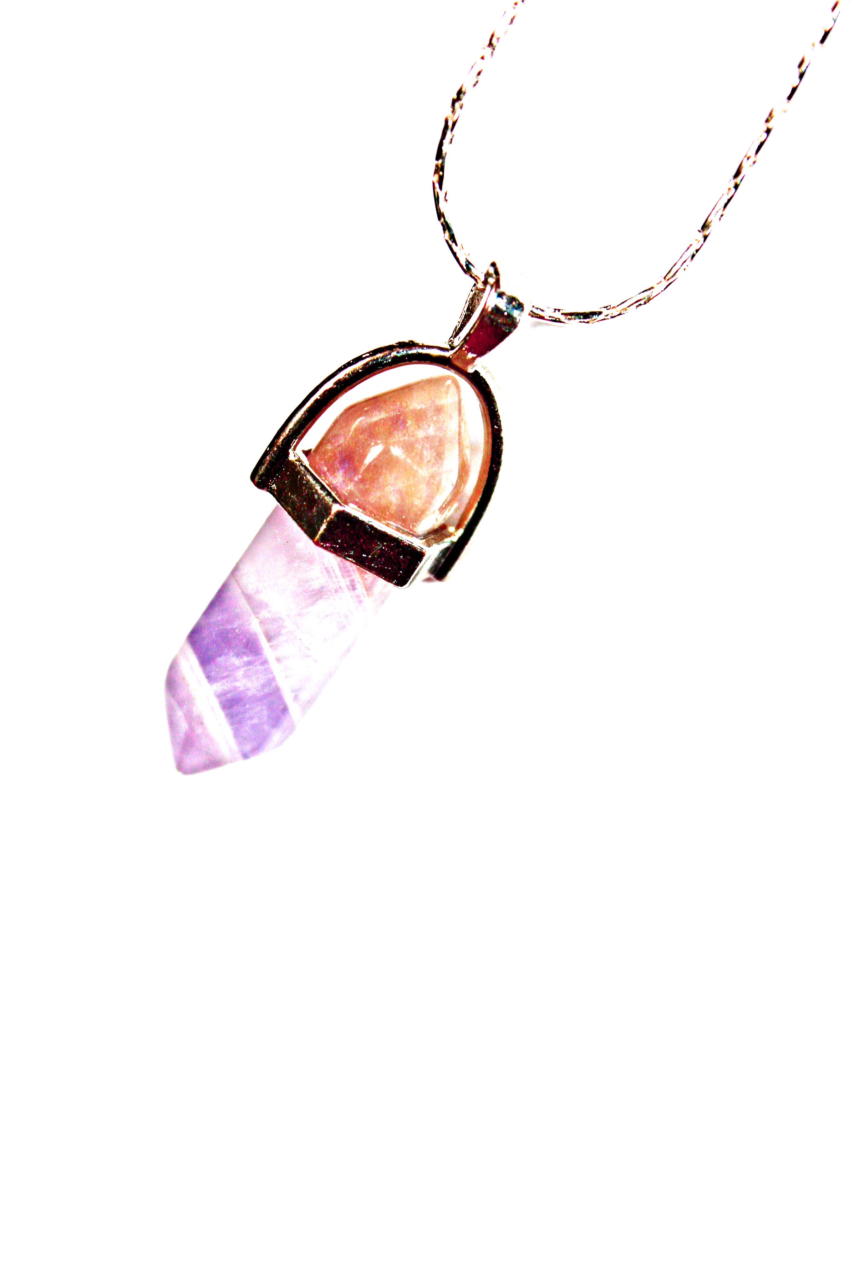 Sterling Sliver Amethyst and smoky quartz pendant