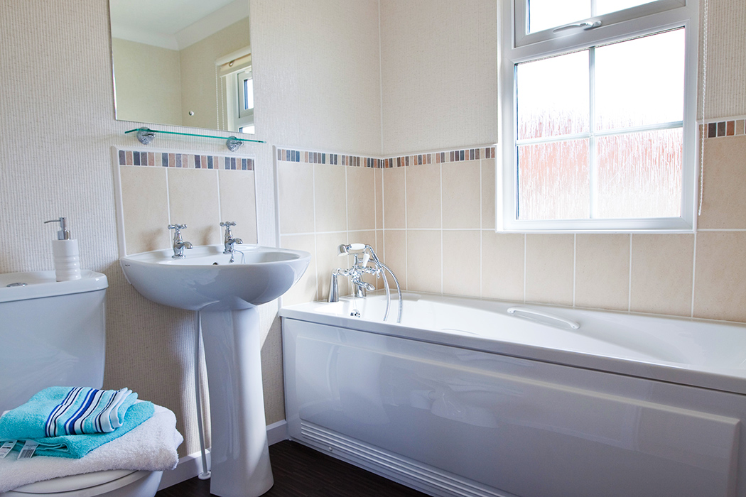 Bathroom in a luxury residential lodge at Mossband Residential Park, Dumfries and Galloway, Scotland
