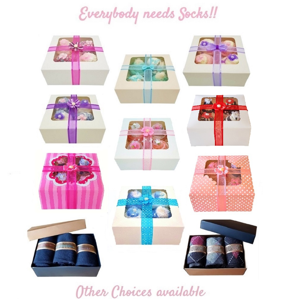 Women's Sock Cupcakes, Blue Ribbon Gift Box *ON SALE*