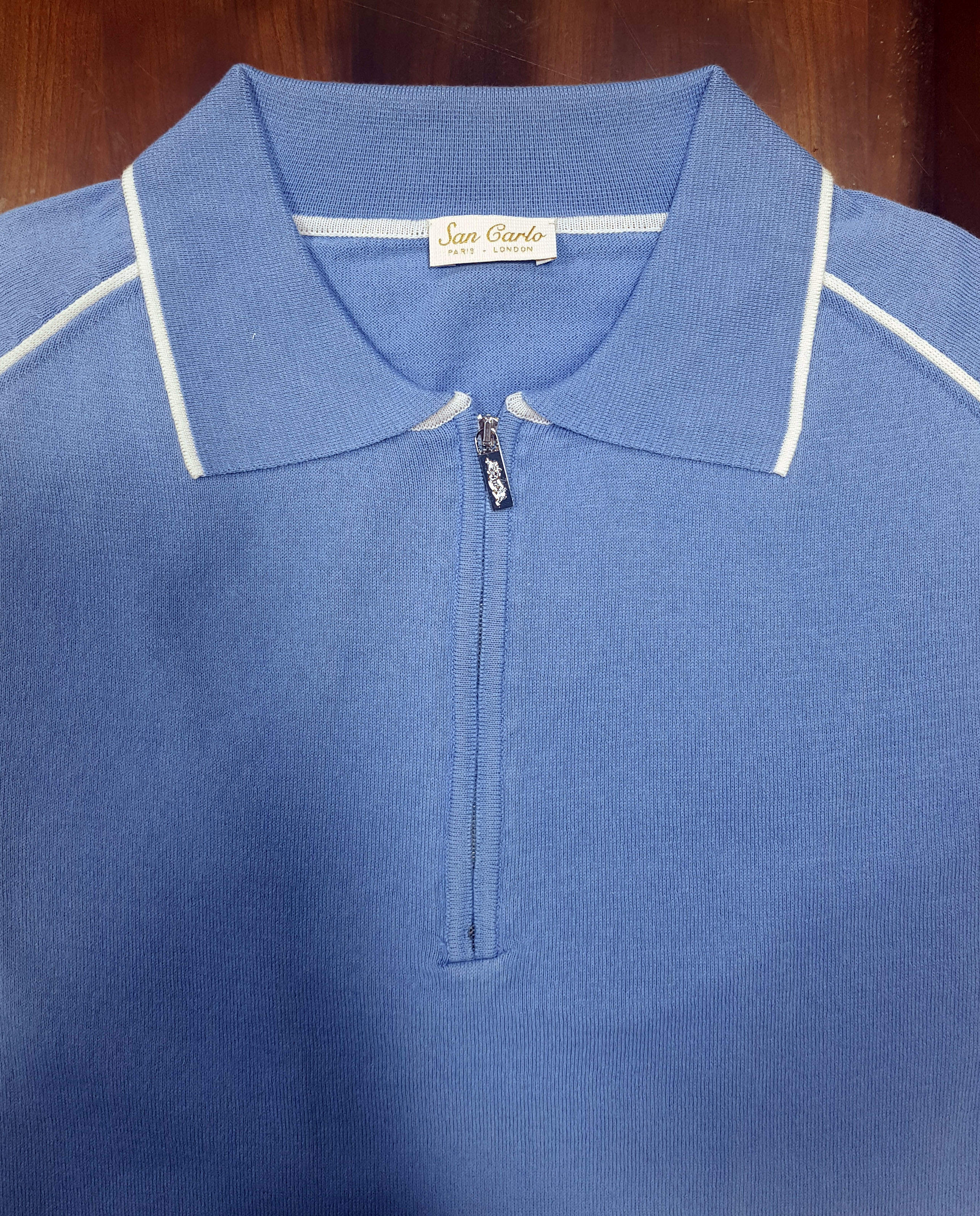 Knitwear SC9130 Polo Blue & White